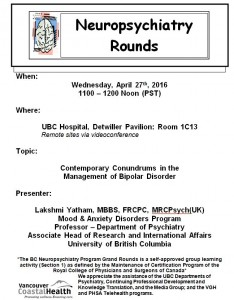 BCNP Grand Rounds: Wednesday  April  27th