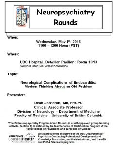 BCNP Grand Rounds: Wednesday May  4th