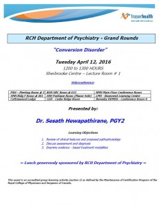 RCH Department of Psychiatry Grand Rounds – Tuesday April 12, 2016