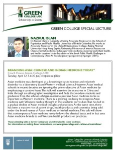 "Lecture Dr. Nazrul Islam ""Branding Asia: Chinese and Indian Medicine Today"""