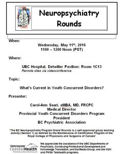 BCNP Grand Rounds Wednesday May 11