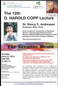 The 12th Harold Copp Lecture – The Creative Brain Tuesday June 21st