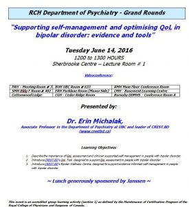 RCH Department of Psychiatry Grand Rounds – Tuesday June 14, 2016