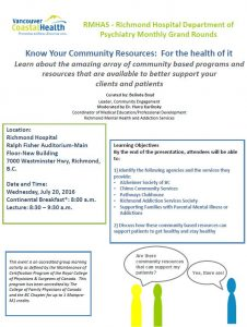 Richmond Hospital Psychiatry  – Know Your Community Resources: For the health of it -Wednesday  July 20