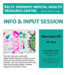 Community Consultation for Kelty Dennehy Mental Health Resource Centre Monday June 27th