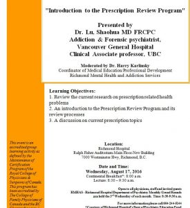 Richmond Hospital Psychiatry Grand Rounds – Wednesday August  17th
