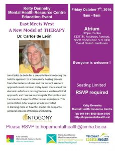 HOpe Centre Mental Health Education Series, Friday October 7th from 8am-9am