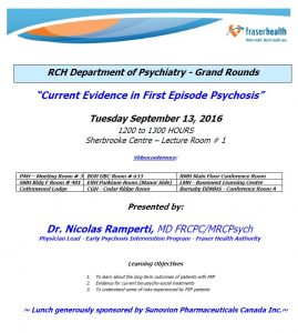 RCH Department of Psychiatry Grand Rounds – Tuesday September 13, 2016