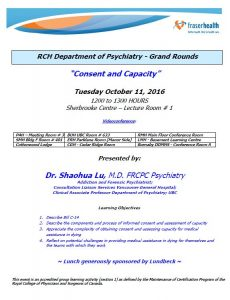 RCH Department of Psychiatry Grand Rounds – Tuesday October 11, 2016