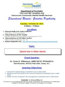 Geriatric Educational Rounds – Tuesday  October 25