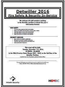 Health & Safety Communication: Fire Safety & Security In-Service Information Session  – Detwiller