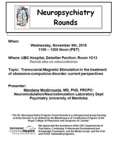 Neuropsychiatry Grand Rounds Wednesday November 9th