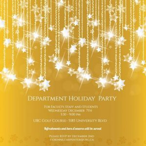 Invitation to the Department Holiday Party Wednesday December 7th