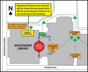 Construction on Woodward Library entrance Jan-Mar 2017