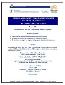 Child and Adolescent Psychiatry Academic Lecture Series Monday December 19th