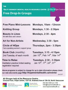 Free Drop In Groups at the Kelty Dennehy Mental Health Resource Centre