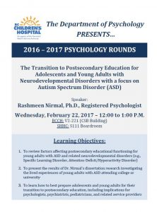 BCCH Psychology Rounds -Wednesday  February  22