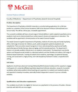 Seeking applications for Assistant Professor (Clinical) – Department of Psychiatry, McGill University