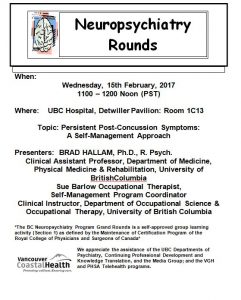 BC Neuropsychiatry Program Grand Rounds Wednesday, 15th February, 2017