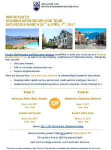 UBC Invitation to Housing Neighbourhood Tour – March 25 & April 1, 2017