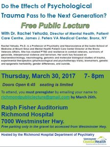 Free Public Lecture – Intergenerational Psychological Trauma – Dr Rachel Yehuda at Richmond Hospital March 30th