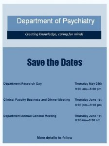 Save the Dates: Upcoming Department Events