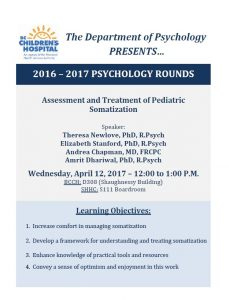 BCCH Psychology Rounds  Wednesday April 12