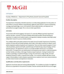 Seeking applications for Full Professor (Psychotherapy) – Department of Psychiatry, McGill University