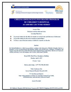 Child & Adolescent Psychiatry Academic Rounds Monday  April 3