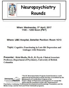 Invite to BC Neuropsychiatry Program's Grand  Rounds Wednesday  April 5th