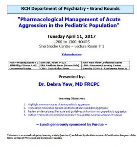 RCH Department of Psychiatry Grand Rounds – Tuesday April 11, 2017