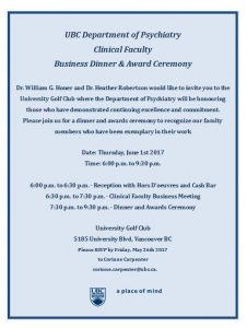 Clinical Faculty Business Dinner and Award Ceremony Thursday June 1st