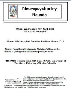 BC Neuropsychiatry Program Grand Rounds Wednesday, 19th April, 2017