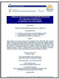 Child & Adolescent Psychiatry Academic Rounds Monday  April 24th
