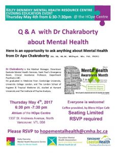 Evening Education Event Q&A with Dr Chakraborty about Mental Health on Thursday May 4th