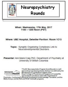 Invite to 17th May 2017 BC Neuropsychitry Grand Rounds