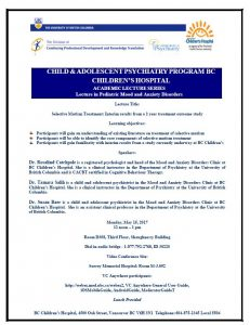 Child & Adolescent Psychiatry Academic Rounds Monday  May 15th
