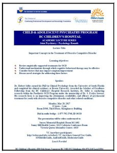 Child & Adolescent Psychiatry Academic Rounds Monday  May 29th