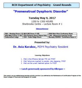 RCH Department of Psychiatry Grand Rounds – Tuesday May 9, 2017