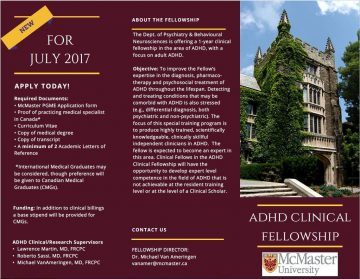 A fellowship in ADHD across the Lifespan at McMaster