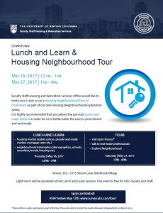 UBC Faculty and Staff Housing & Relocation Services regarding the Housing Neighbourhood Tour and Lunch sessions on May 18th and 27th.