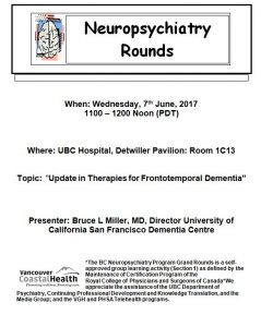 BC Neuropsychiatry Rounds 7th June