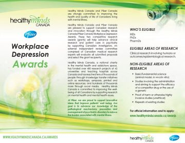 Healthy Minds Canada/Pfizer Canada Workplace Depression Research Awards