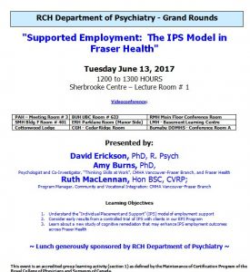 RCH Department of Psychiatry Grand Rounds – Tuesday June 13, 2017