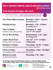 Kelty HOpe's July Drop-In Groups