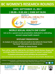 BCWH Research Rounds: September 15, 2017 – World Sexual Health Day Event