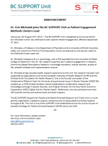 Dr. E. Michalak joins the BC SUPPORT Unit as Patient Engagement Methods Clusters lead