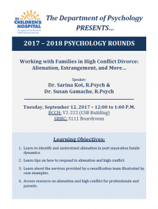 BCCH Psychology Rounds – Sept 12 2017 (***ROOM UPDATED)