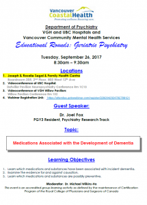 Geriatric Psychiatry Educational Rounds September 26, 2017