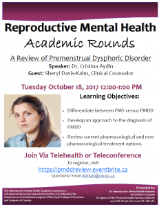 RMH Academic Rounds:  A Review of Premenstrual Dysphoric Disorder – October 18th, 2017